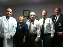 Auburn Internal Medicine (R to L): Hesham Hammouda, MD, Tammy Gentile, office supervisor, Gerald Chase, MD, William McLaughlin, MD, Eric Dickson, MD