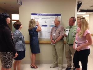 "The Patient Experience/PFAC ""Mobile"" Idea Board. (L to R): Crystal Lehto (Pt. Experience), Beth Elbeg (South 2), Janet Lamy (PFAC), John Trogolo (PFAC), Brian Murphrey (PFAC), Jessica Ramsey (South 2)"