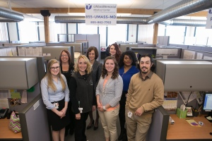 The 855-UMass-MD team: front row (left to right), Katie Warren, Melissa Seney, Meghan Macchi, Joe Ciejka; second row (left to right), Cara Lamonda, Michele Sweeney, Jennifer Mensah; back row, Katie Card